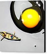 Boating Around Egg Little People On Food Canvas Print by Paul Ge