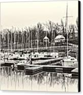 Boats And Cottages In B/w Canvas Print by Greg Jackson