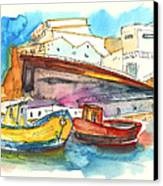 Boats In Ericeira In Portugal Canvas Print by Miki De Goodaboom