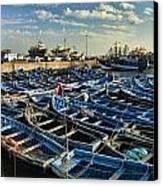 Boats In Essaouira Morocco Harbor Canvas Print by David Smith