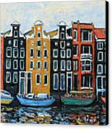 Boats In Front Of The Buildings Vi Canvas Print by Xueling Zou