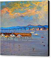Boats In Piermont Harbor Ny Canvas Print by Ylli Haruni