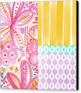 Boho Aztec Patchwork- Flower Painting Canvas Print by Linda Woods