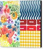 Bold Boho Patchwork- Abstract Art Canvas Print by Linda Woods