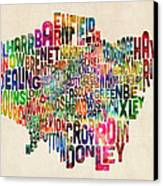 Boroughs Of London Typography Text Map Canvas Print by Michael Tompsett