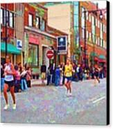 Boston Marathon Mile Twenty Two Canvas Print by Barbara McDevitt