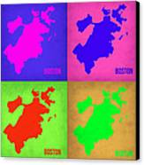 Boston Pop Art Map 1 Canvas Print by Naxart Studio