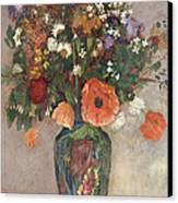 Bouquet Of Flowers In A Vase Canvas Print by Odilon Redon