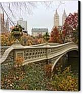 Bow Bridge In Central Park Canvas Print by June Marie Sobrito