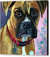 Boxer Dog Portrait Canvas Print by Lyn Cook