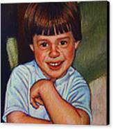 Boy In Blue Shirt Canvas Print by Kenneth Cobb