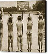 Boys Bathing In The Park Clapham Canvas Print by English Photographer