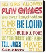 Boys Rules Canvas Print by Debbie DeWitt