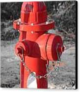 Brand New Red Hydrant On Bw Canvas Print by Jeff at JSJ Photography