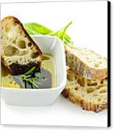 Bread Olive Oil And Vinegar Canvas Print by Elena Elisseeva
