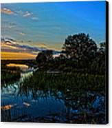 Break Of Dawn Over Low Country Marsh Canvas Print by Savlen Art
