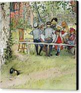 Breakfast Under The Big Birch Canvas Print by Carl Larsson