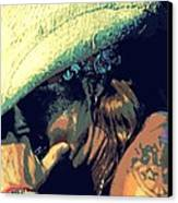 Bret Michaels With Harmonica Canvas Print by Michelle Frizzell-Thompson