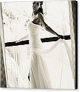 Bride At The Balcony. Black And White Canvas Print by Jenny Rainbow