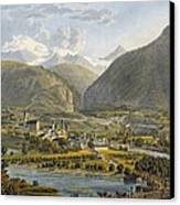 Brig On The Rhone, Bernese Alps Canvas Print by Swiss School