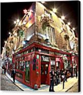Bright Lights Of Temple Bar In Dublin Ireland Canvas Print by Mark E Tisdale