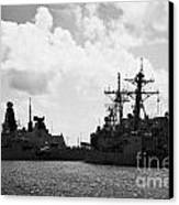 British Brazilian And Us Navy Warships Mole Pier Key West Harbor Florida Usa Canvas Print by Joe Fox