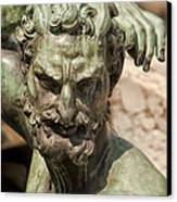 Bronze Satyr In The Fountain Of Neptune Of Florence Canvas Print by Melany Sarafis