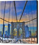 Brooklyn Bridge At Dusk Canvas Print by Randy Aveille