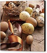 Brown And Yellow Eggs With Ribbons For Easter Canvas Print by Sandra Cunningham
