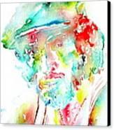 Bruce Springsteen Watercolor Portrait Canvas Print by Fabrizio Cassetta