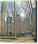 Bryant Park Library Gardens Canvas Print by Tony Ambrosio