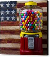 Bubblegum Machine And American Flag Canvas Print by Garry Gay