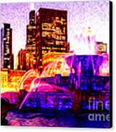 Buckingham Fountain At Night Digital Painting Canvas Print by Paul Velgos