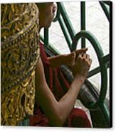 Buddhist Monk Leaning Against A Pillar Sule Pagoda Central Yangon Myanar Canvas Print by Ralph A  Ledergerber-Photography