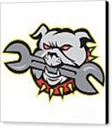 Bulldog Dog Spanner Head Mascot Canvas Print by Aloysius Patrimonio