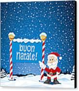 Buon Natale Sign Santa Claus Winter Landscape Canvas Print by Frank Ramspott