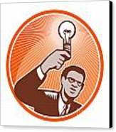 Businessman Holding Lightbulb Woodcut Canvas Print by Aloysius Patrimonio