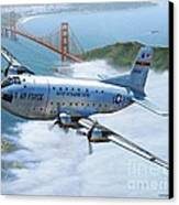 C-124 Shakey Over The Golden Gate Canvas Print by Stu Shepherd
