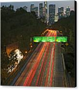 Ca 110 Pasadena Freeway Downtown Los Angeles At Night With Car Lights Streaking_2 Canvas Print by David Zanzinger