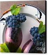 Cabernet Grapes And Wine Glasses Canvas Print by Craig Lovell