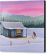 Cabin On A Frozen Lake Canvas Print by Gary Giacomelli