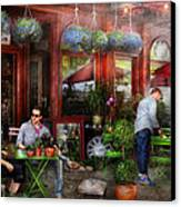 Cafe - Hoboken Nj - A Day Out  Canvas Print by Mike Savad