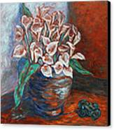 Calla Lilies And Frog Canvas Print by Xueling Zou