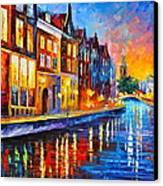 Canal In Amsterdam Canvas Print by Leonid Afremov