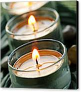 Candles On Green Canvas Print by Elena Elisseeva
