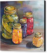 Canning Jars Canvas Print by Kristine Kainer