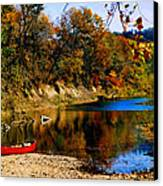 Canoe On The Gasconade River Canvas Print by Steve Karol