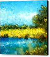Canola Fields Impressionist Landscape Painting Canvas Print by Michelle Wrighton