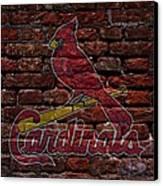 Cardinals Baseball Graffiti On Brick  Canvas Print by Movie Poster Prints