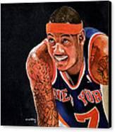 Carmelo Anthony - New York Knicks Canvas Print by Michael  Pattison